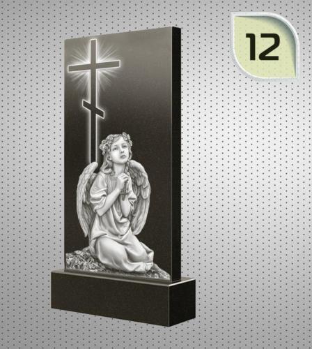 Сидящий ангел, молящейся на фоне креста - 12